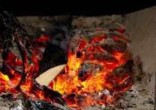 Brasas, uma fogueira, grade Fotos de Stock Royalty Free