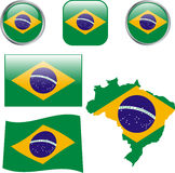 Brasil. Map, flag and buttons -  illustration Royalty Free Stock Image