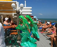 Brazil/Atlantic Ocean: Crossing-the-Line Ceremony - Mermaids. A cruise ship that is ready to cross the equator near the Brasilian coastline is preparing for the Royalty Free Stock Photos
