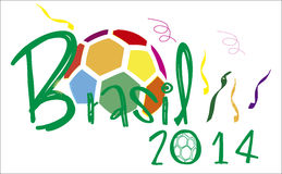 Brasil 2014 ball colorfull. Brasil 2014 world cup fotball stock illustration