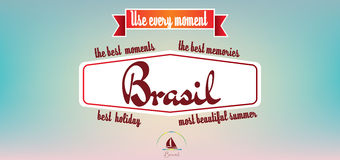 Brasil best holiday card over pastel colored background, in outlines Royalty Free Stock Photography