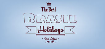 Brasil, the best holidays card with crown and mustache over light blue background with, in outlines Royalty Free Stock Images