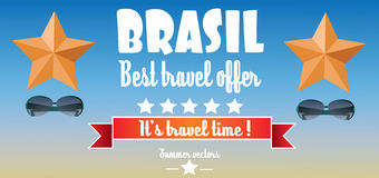 Brasil, best travel offer card with stars and sunglasses over blue background, in outlines Stock Images
