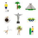 Brasil Brazilian national icons flat vector. Brasil Brazilian national icons. Flat style vector icon set. Football soccer player palm pyramid Jesus Rio de vector illustration
