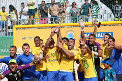 Brasil celebration - PORTUGUESE Team 2017 Carcavelos Portugal. Win celebration during 2017 beach soccer MUNDIALITO in Portugal Cascais Carcavelos stock images
