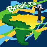 Brasil 2016, country map in 3d and statue of Jesus. Digital vector image Royalty Free Stock Image