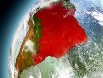 Brasil da órbita de Earth modelo ilustração do vetor