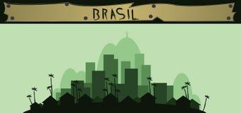 Brasil design with silhouette of rio de janeiro city Royalty Free Stock Photos