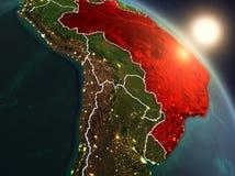Brasil do espaço durante o nascer do sol Fotografia de Stock