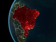 Brasil do espaço na noite Imagem de Stock Royalty Free