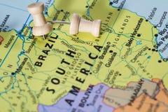 Brasil em um mapa Imagens de Stock Royalty Free