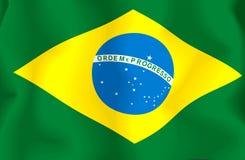 Brasil Flag. Waving flag of Brazil isolated on white royalty free illustration