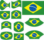 Brasil flag set. Isolated on white stock illustration