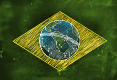 Brasil Flag Sketch Soccer Edition Stock Photos