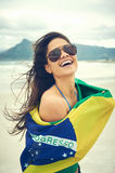Brasil flag woman fan Royalty Free Stock Photos