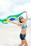 Brasil flag woman fan Stock Photo