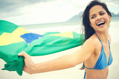 Brasil flag woman fan Stock Photo