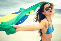 Brasil flag woman fan Royalty Free Stock Photo