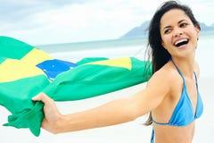 Brasil flag woman fan Royalty Free Stock Photo