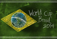 Brasil flag 2014 World Cup Sketch. Blackboard stock illustration