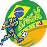 Brasil 2014 Football Player Kicking Retro. Illustration of a Brazil football player kicking soccer ball with Brazilian flag in background with words Brasil 2014 Stock Photography