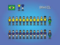 Brasil football team uniforms pixel art game illustration. Brasil football team pixel art soccer game illustration royalty free illustration