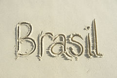 Brasil Handwritten Message on Smooth Sand Royalty Free Stock Photography