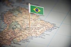 Brasil identificou por meio de uma bandeira no mapa fotos de stock