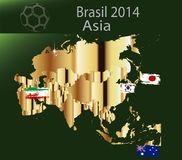 Brasil 2014 land Asia. Brasil 2014 fotball world cup  land groups Royalty Free Stock Photo