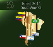 Brasil 2014 land south america. Brasil 2014 fotball world cup  land groups Stock Images