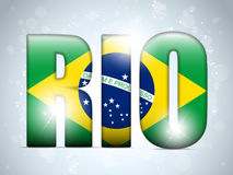 Brasil 2014 Letters with Brazilian Flag Stock Photography
