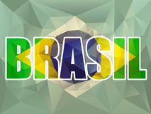 Brasil Letters with Brazilian Flag Stock Image