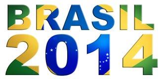 Brasil 2014 Logo Design. Brasil 2014 logo with national flag of Brasil isolated on white background Royalty Free Stock Photos