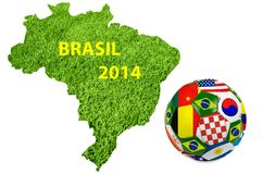 Brasil 2014. Map and Soccer ball of Brasil 2014 vector illustration