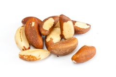 Brasil nuts. Few brasil nuts isolated on white background Stock Images