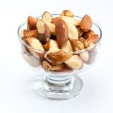 Brasil nuts. In the glass bowl on white background Royalty Free Stock Photos