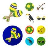 Brasil, país, bola, futebol Ícones ajustados da coleção do país de Brasil nos desenhos animados, estoque liso do símbolo do vetor Foto de Stock