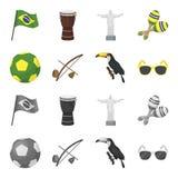 Brasil, país, bola, futebol Ícones ajustados da coleção do país de Brasil nos desenhos animados, estoque monocromático do símbolo Imagens de Stock Royalty Free
