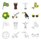 Brasil, país, bola, futebol Ícones ajustados da coleção do país de Brasil nos desenhos animados, estoque do símbolo do vetor do e Fotografia de Stock