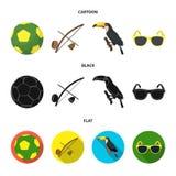 Brasil, país, bola, futebol Ícones ajustados da coleção do país de Brasil nos desenhos animados, preto, estoque liso do símbolo d Imagem de Stock Royalty Free