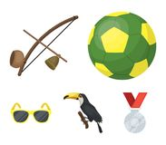 Brasil, país, bola, futebol Os ícones ajustados da coleção do país de Brasil no estilo dos desenhos animados vector a ilustração  Fotos de Stock Royalty Free