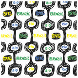 3brasil pattern set 2016 rio. Ipanema beach pattern set. Vector illustration. Brasil style pattern Stock Photos