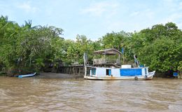 Brazil, Rain Forest: Amazon River - Waterfront Home Royalty Free Stock Images
