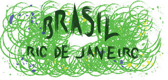 Brasil, rio de janeiro hand drawn card with splash painted background with circles Stock Photos