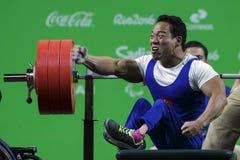 Brasil - Rio De Janeiro - Paralympic game 2016 weight lifting. Brasil - Rio De Janeiro - Paralympic game 2016 the weight lifting - the record man Le Van Cong stock image