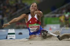 Brasil - Rio De Janeiro - Paralympic game 2016 maracanà. Brasil - Rio De Janeiro - Paralympic game 2016 woman long jump - Malu Perez Iser royalty free stock photography