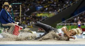 Brasil - Rio De Janeiro - Paralympic game 2016 maracanà. Brasil - Rio De Janeiro - Paralympic game 2016 woman long jump - Vanessa Low royalty free stock photo