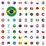 Brasil round flag icon. Round World Flags Vector illustration Icons Set. Stock Image