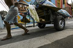 Brasil - San Paolo - Catadores de rua - a recycler cooperative stock image