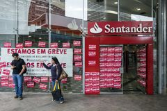 Brasil - San Paolo - strike in santander bank royalty free stock photography